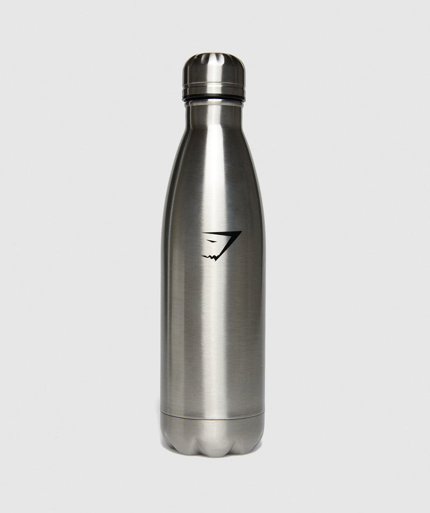 Gymshark Metal Water Bottle - Gun Metal SIlver 1