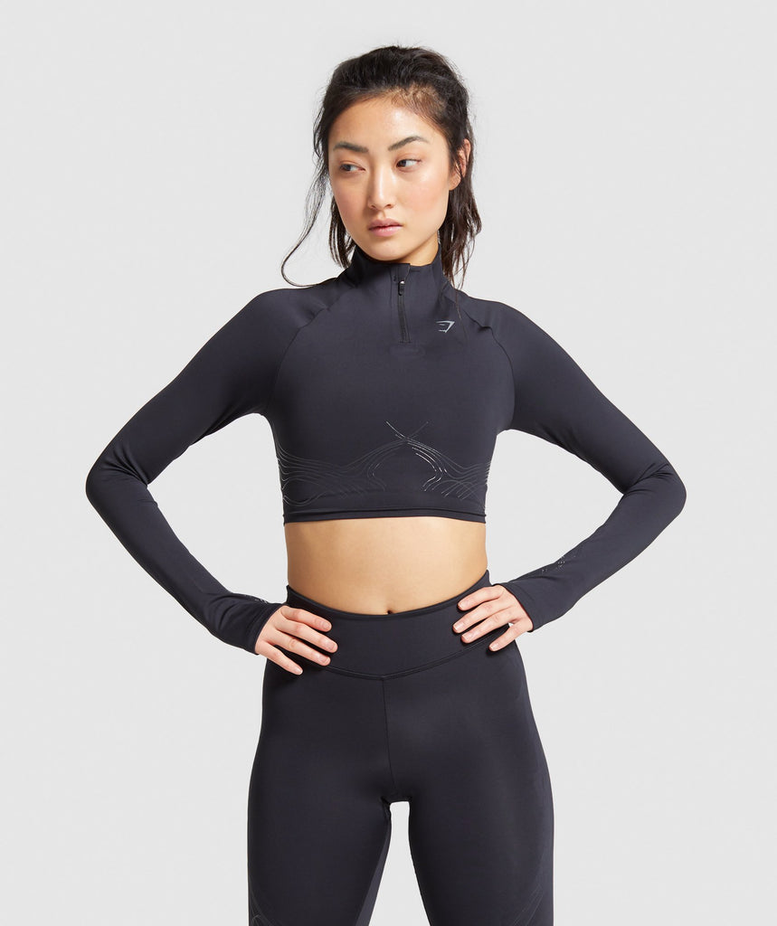 Gymshark Technical Long Sleeve Crop Top - Black 1