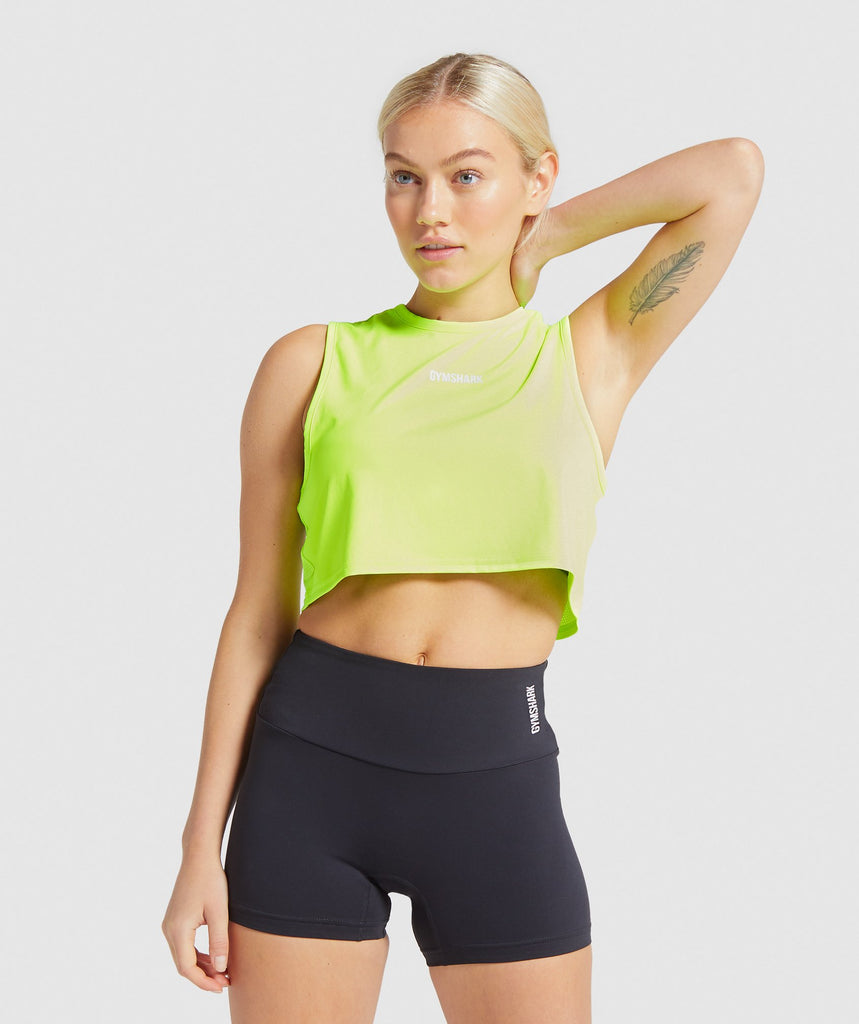 Gymshark Training Cropped Tank - Lime 1