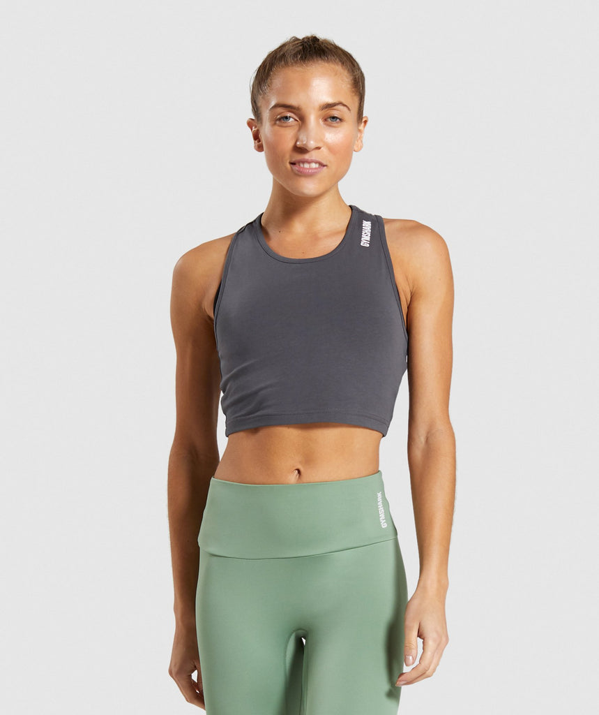 Gymshark Training Cropped Vest - Charcoal 1