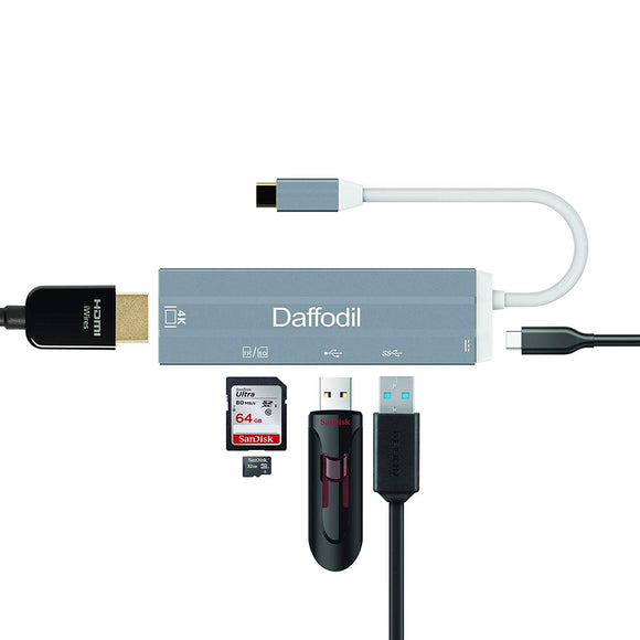 5 in 1 Type C to HDMI 4K Adaptor with High Speed 5Gbps USB 3.0 &  2.0 Port, SD & Micro SD Card Reader    iDaffodil  Adaptors   iDaffodil - Consumer Electronics at Affordable Prices
