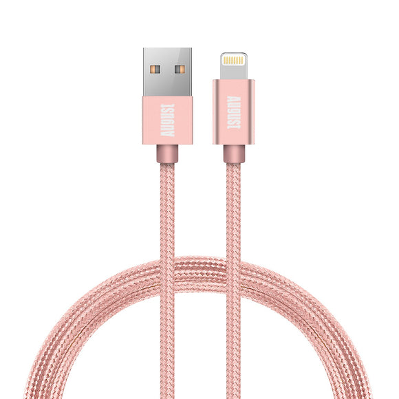 Apple Lightning Cable TC11 - Apple MFi Certified for iPhone X/8/8 Plus/7/7 Plus/6/6 Plus/5S  Pink  August  Charging Cables   iDaffodil - Consumer Electronics at Affordable Prices
