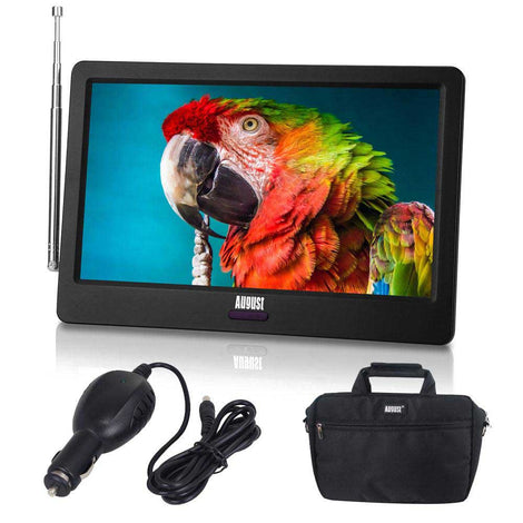 "Portable 9"" Rechargable Television Bundle With Included Vehicle Adaptor and Carry Case - Built-in Freeview Player PVR USB HDMI"