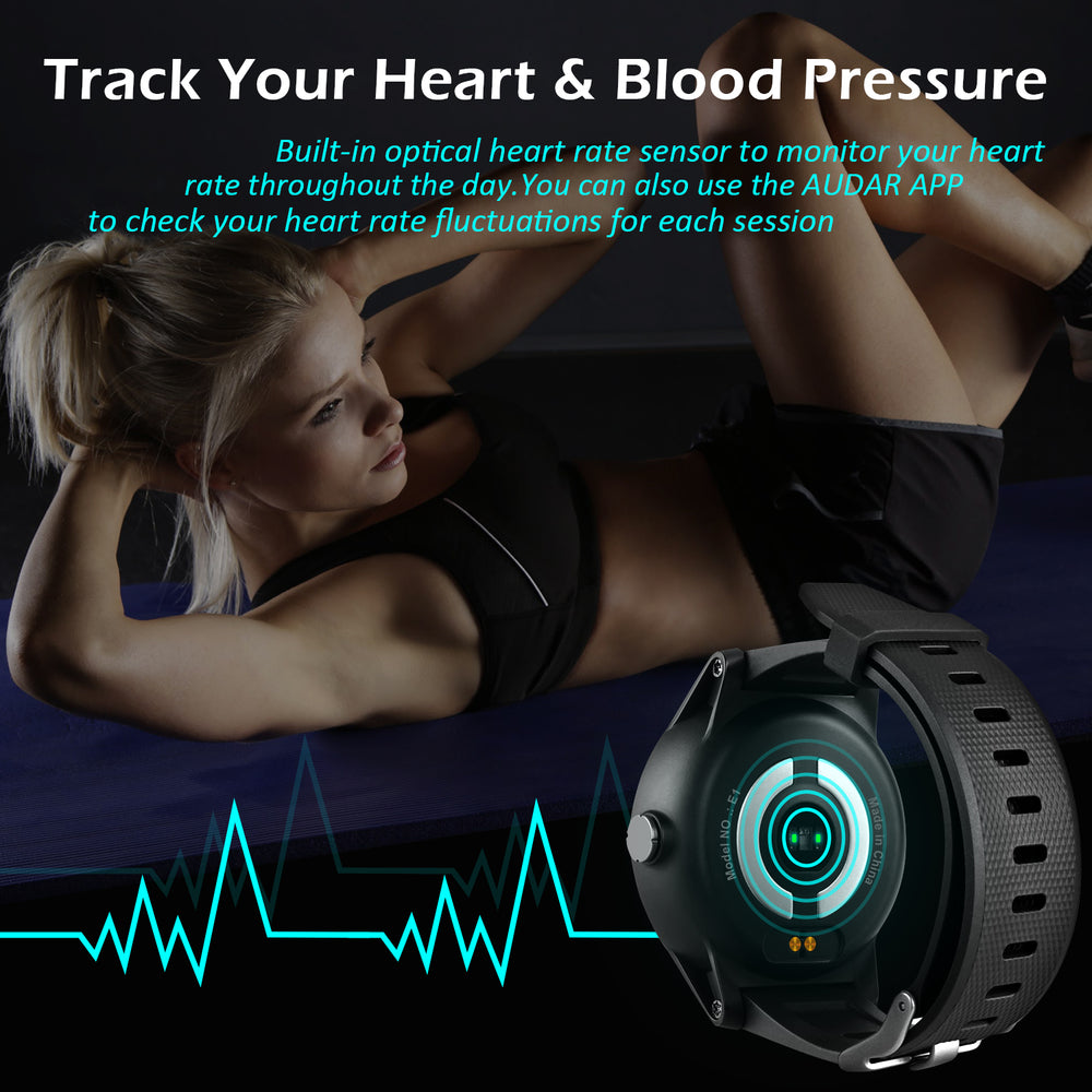 Audar E1 - Smart Watch and Fitness Tracker - Heart Rate and Blood Pressure Monitor