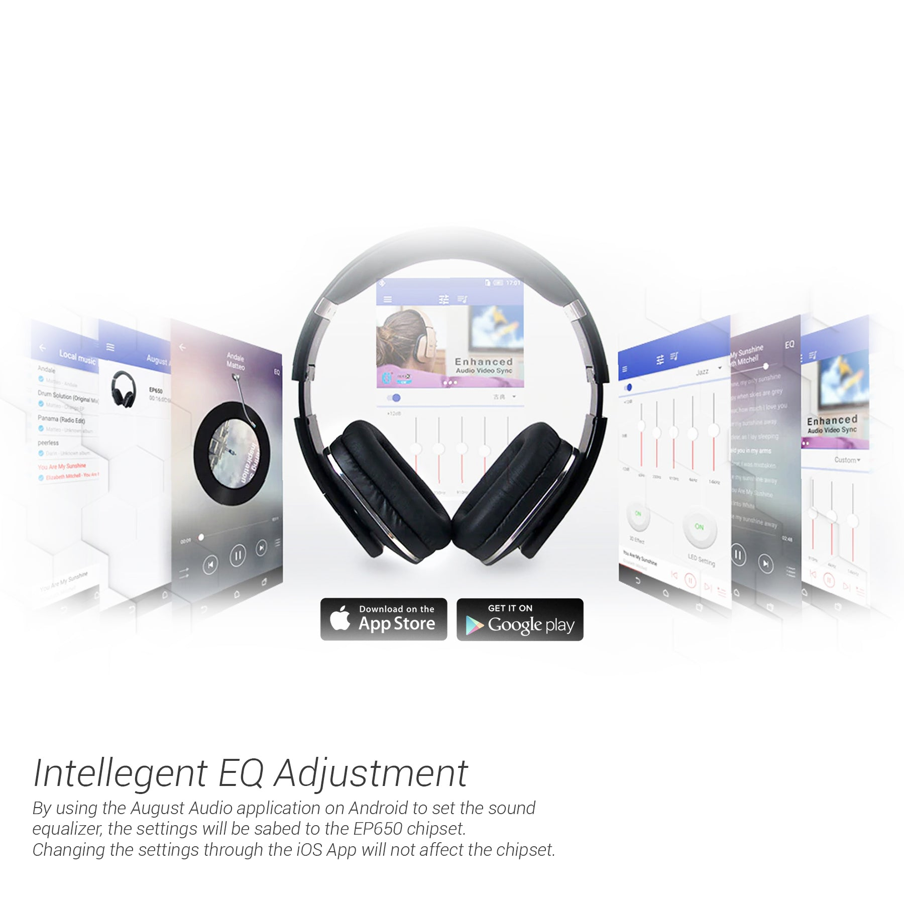 August EP650 Wireless Bluetooth Headphones with Android/iOS App for Cu
