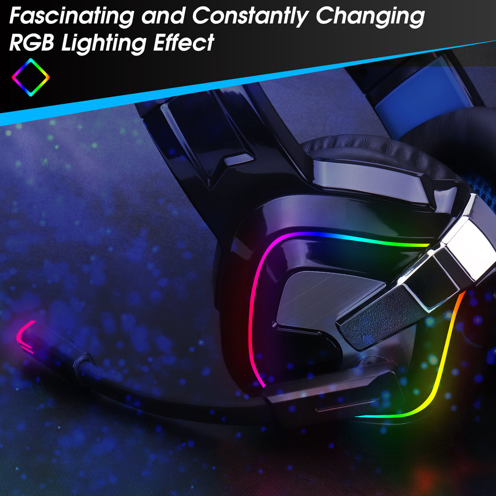 RGB Gaming Headset For PS4/5 XBOX ONE Nintendo Switch & PC 3.5mm Mic USB EPG100L