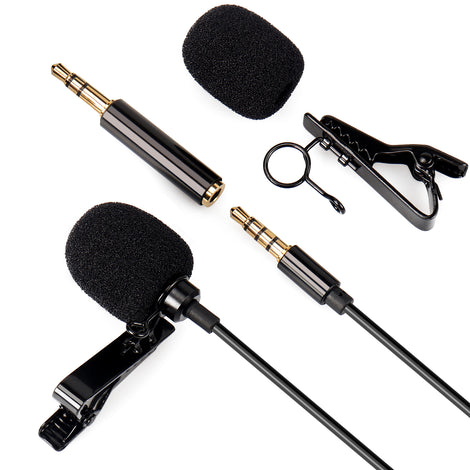 Lavalier Clip-on Lapel Microphone TRRS 3.5mm AUX for Recording Interviews, Youtube and more...