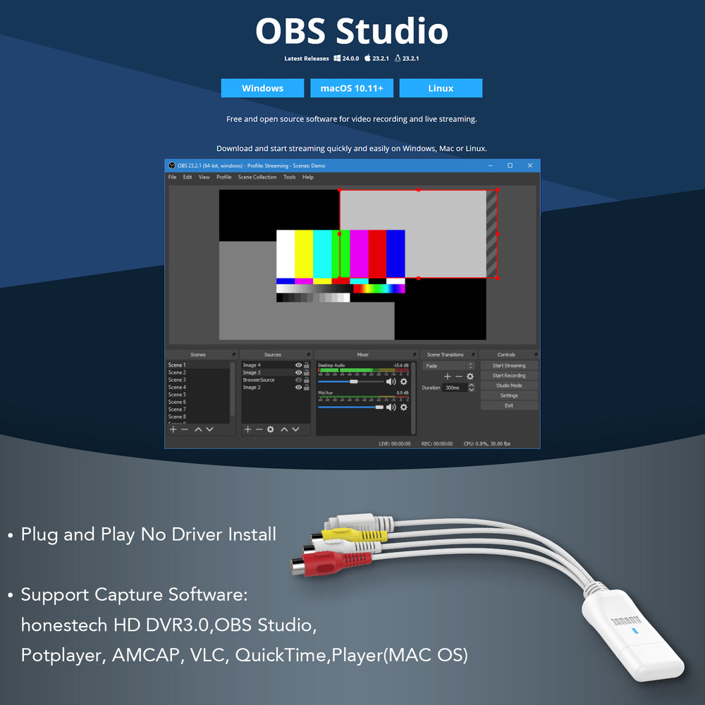 USB Video Capture Card - August VGB300 - S Video / Composite to USB Cable / Windows / Linux
