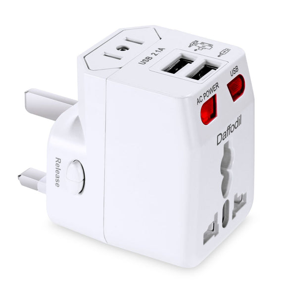Worldwide Travel Adapter - Daffodil WAP160 Universal Adapter with 2 USB Ports    iDaffodil  Adaptors   iDaffodil - Consumer Electronics at Affordable Prices