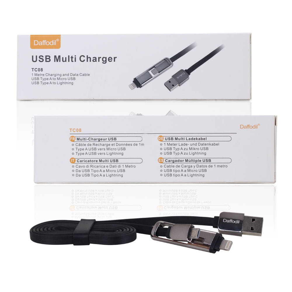 USB Multi Charger Cable - Micro USB / Apple Lightning - Daffodil TC08    iDaffodil  Phone Accessories   iDaffodil - Consumer Electronics at Affordable Prices