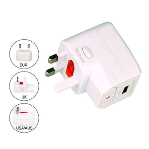World Travel Power Adaptor + USB Charger For Over 150 Countries - Daffodil WAP150    iDaffodil  Adaptors   iDaffodil - Consumer Electronics at Affordable Prices