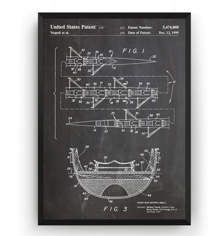 8 Man Rowing Shell 1995 Patent Print - Magic Posters