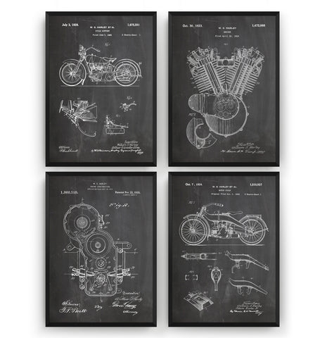 Harley Davidson Set Of 4 Patent Prints - Magic Posters