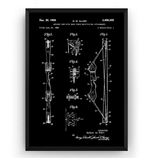 Archery Bow With Multiplying Attachments 1969 Patent Print