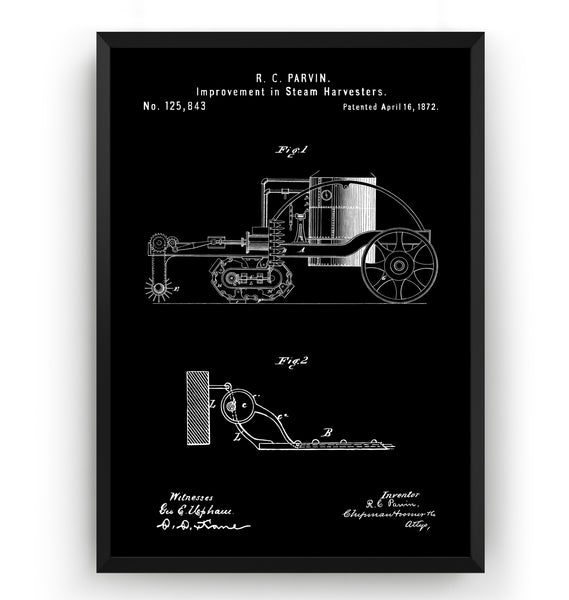 Steam Harvester 1872 Patent Print - Magic Posters