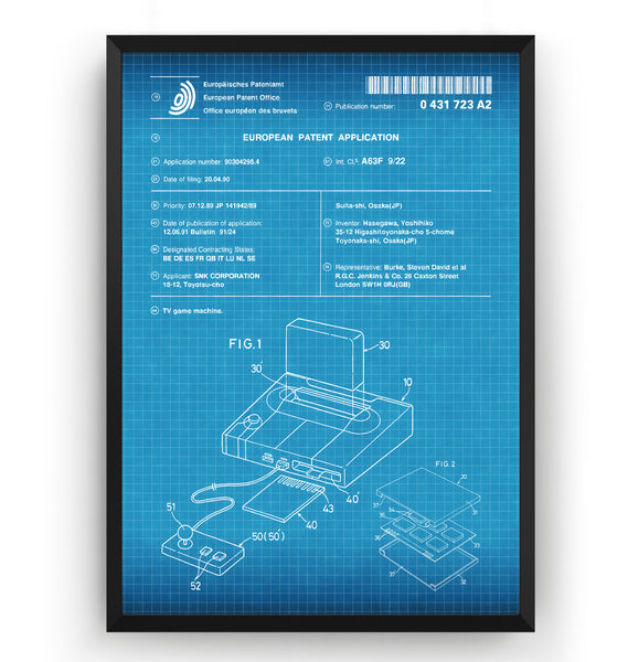 Neo Geo Console 1990 Patent Print - Magic Posters