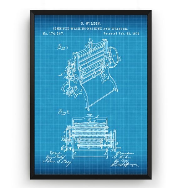 Combined Washing Machine And Wringer 1876 Patent Print - Magic Posters