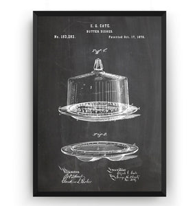 Butter Dish 1876 Patent Print