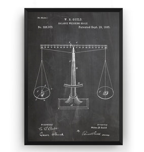 Scales Of Justice 1885 Patent Print