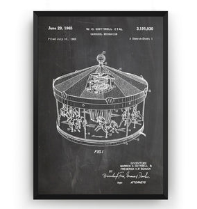 Merry Go Round 1965 Patent Print - Magic Posters