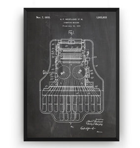 Stenotype Machine 1933 Patent Print