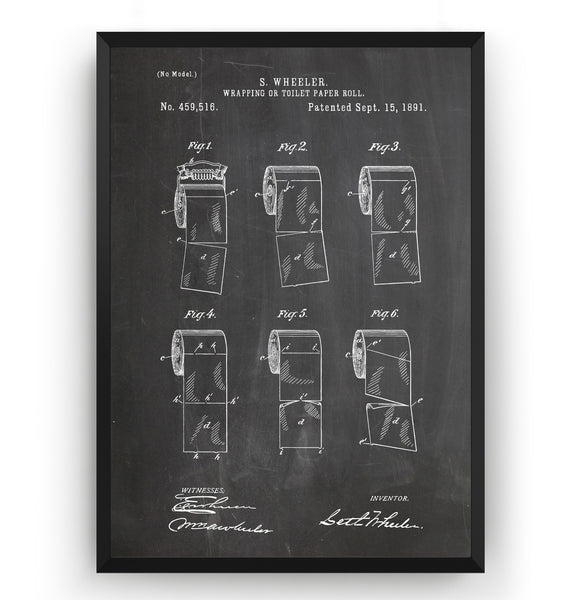 Toilet Paper Roll 1891 Patent Print