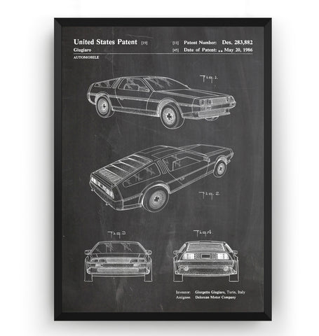 DeLorean Back To The Future Car 1986 Patent Print - Magic Posters