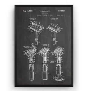 Safety Razor 1930 Patent Print - Magic Posters