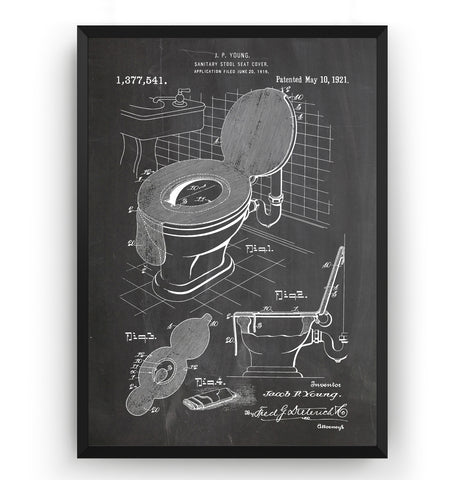 Toilet Seat Cover 1921 Patent Print - Magic Posters