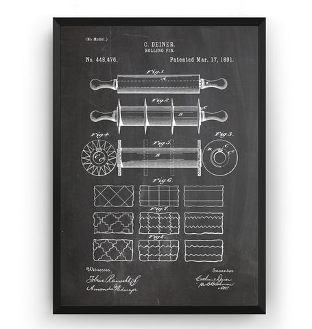 Rolling Pin 1891 Patent Print - Magic Posters