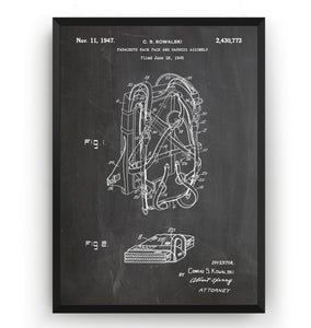 Parachute Backpack 1945 Patent Print - Magic Posters