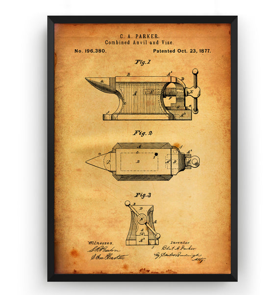 Combined Anvil And Vise 1877 Patent Print