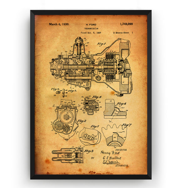 Henry Ford Transmission 1930 Patent Print - Magic Posters
