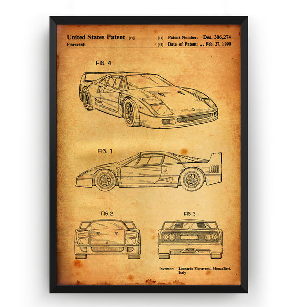 Ferrari F40 1990 Patent Print - Magic Posters