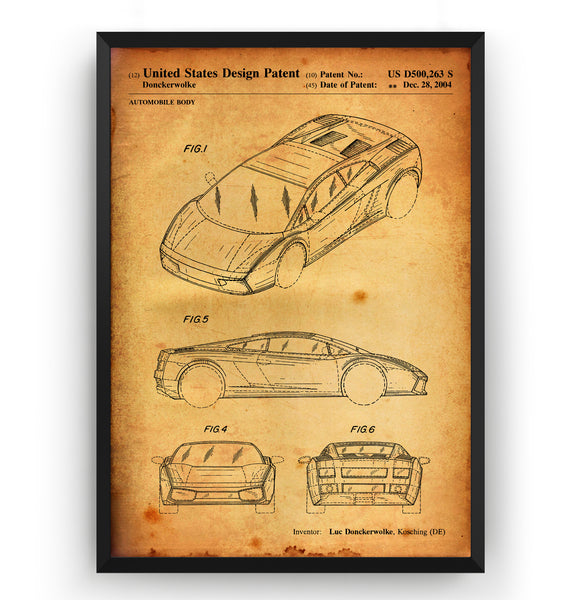 Lamborghini Gallardo 2004 Patent Print - Magic Posters