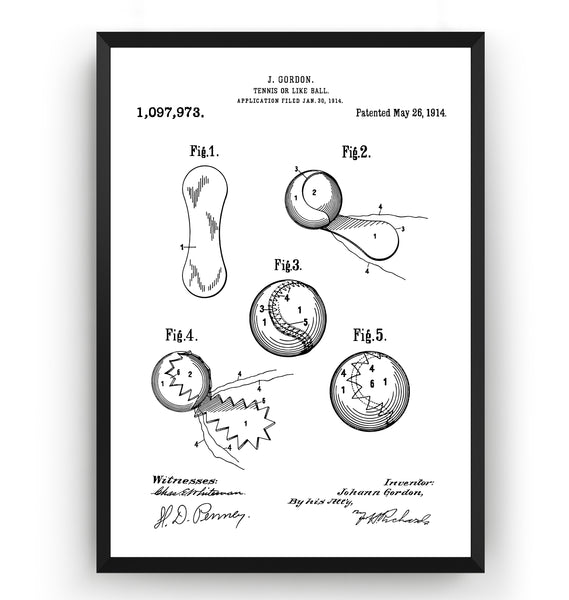 Tennis Ball 1914 Patent Print