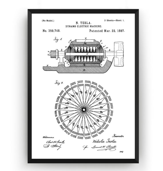 Tesla Dynamo Electric Machine 1887 Patent Print - Magic Posters