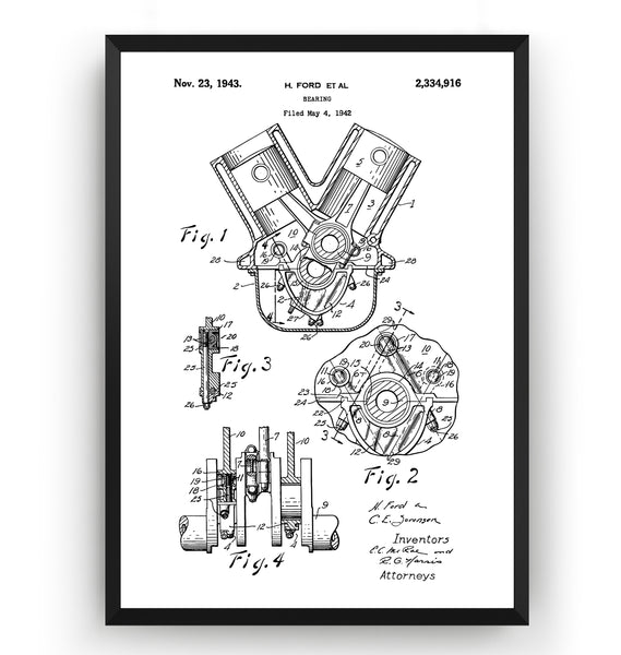 Henry Ford Bearings 1943 Patent Print - Magic Posters