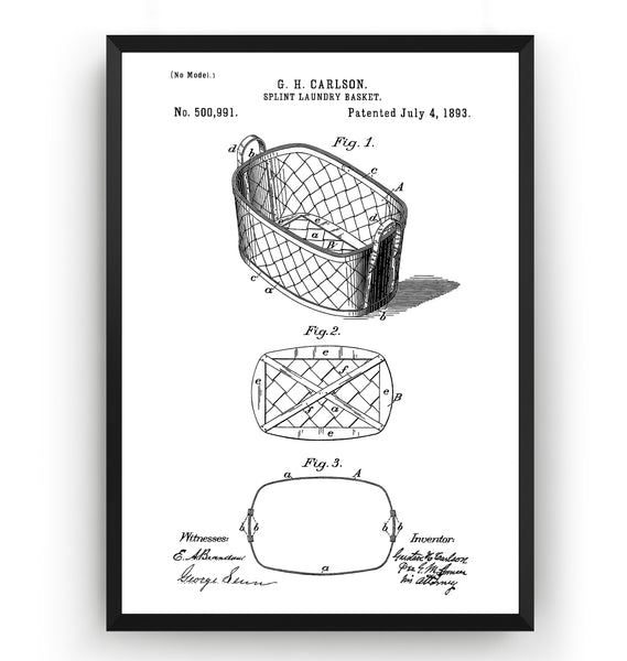 Split Laundry Basket 1893 Patent Print - Magic Posters