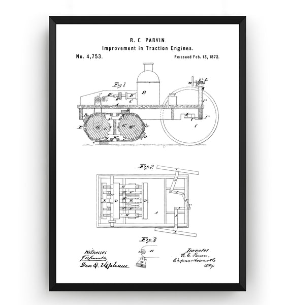 Steam Plow 1872 Patent Print - Magic Posters