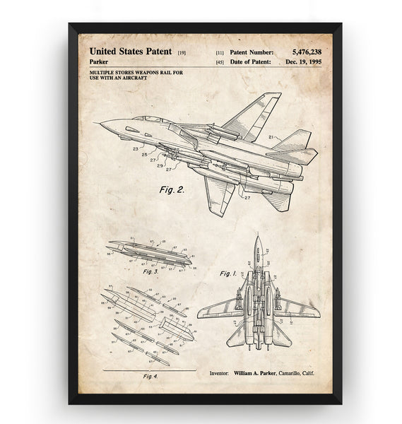 Aircraft Weapons Rail 1955 Patent Print - Magic Posters