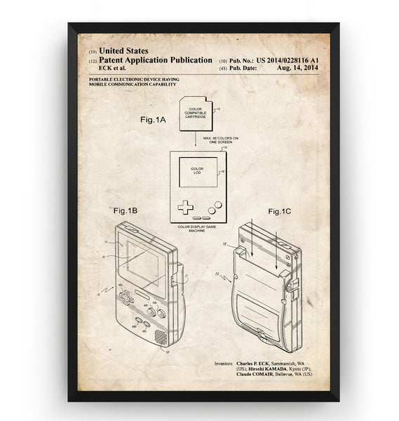 Game Boy Color 2014 Patent Print - Magic Posters