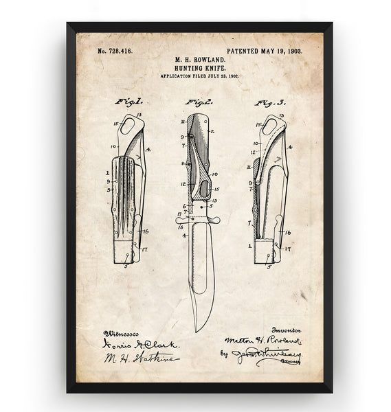 Hunting Knife 1903 Patent Print - Magic Posters