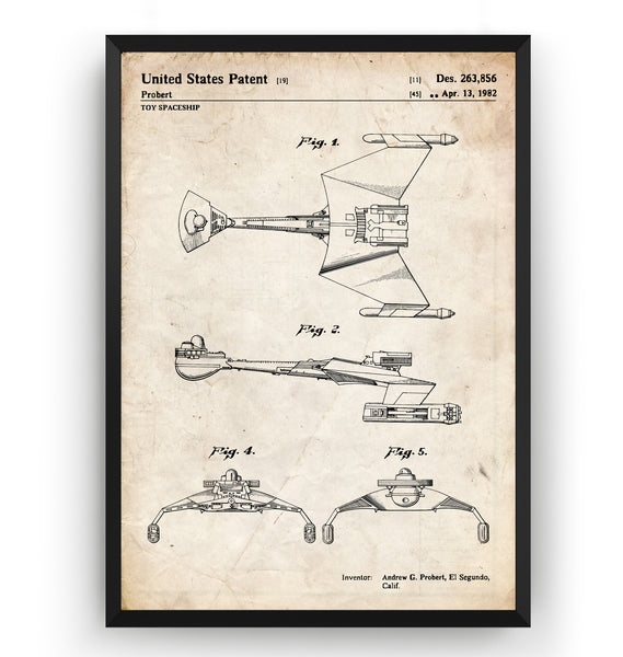 Star Trek Klingon Ship 1982 Patent Print - Magic Posters