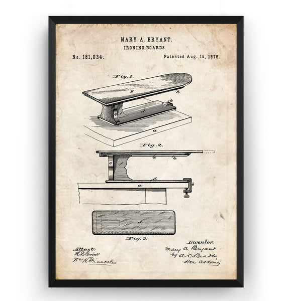 Ironing Board 1876 Patent Print - Magic Posters