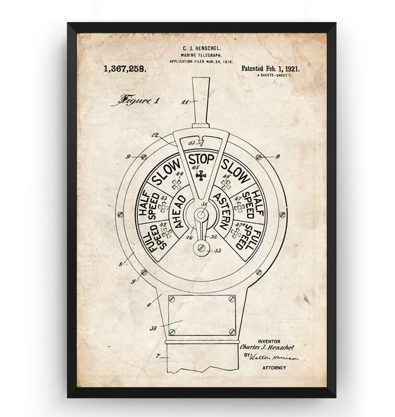 Marine Telegraph 1921 Patent Print - Magic Posters