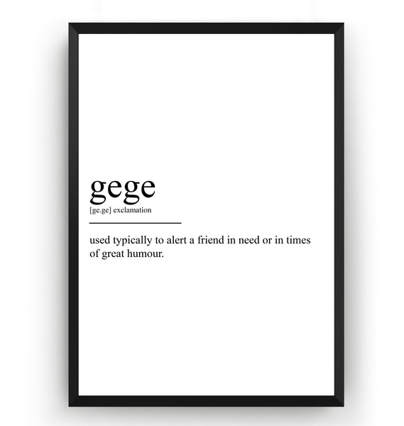Gege Definition Print - Magic Posters
