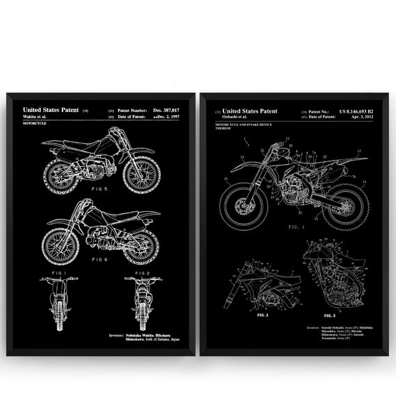 Dirt Bike Set Of 2 Patent Prints - Magic Posters
