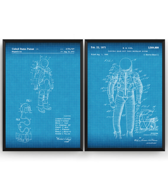 Space Suit Set Of 2 Patent Prints - Magic Posters