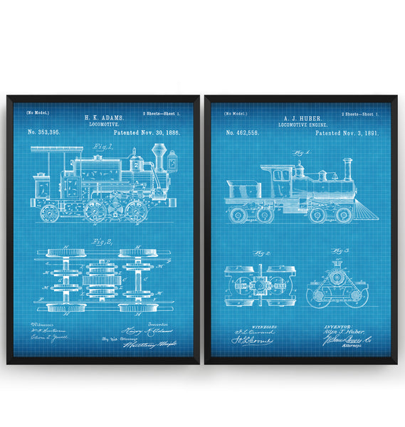 Steam Train Set Of 2 Patent Prints - Magic Posters